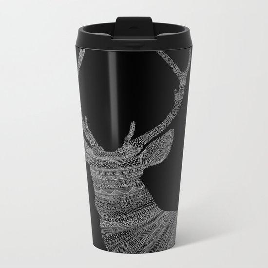Stag / Deer (On Black) Metal Travel Mug