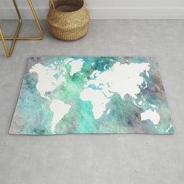 Design 62 World Map Turquoise Aqua Rug