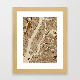 New York City Street Map Framed Art Print