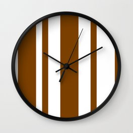 Mixed Vertical Stripes - White and Chocolate Brown Wall Clock