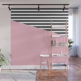 Pink & Gray Stripes Wall Mural