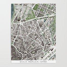 Sevilla city plan Poster