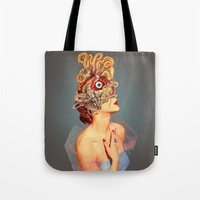 freud Tote Bags featuring Freud vs Jung by Eugenia Loli