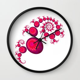 Pretty Pink Paisley on White Wall Clock