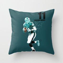Carson Wentz #American football player on green Throw Pillow