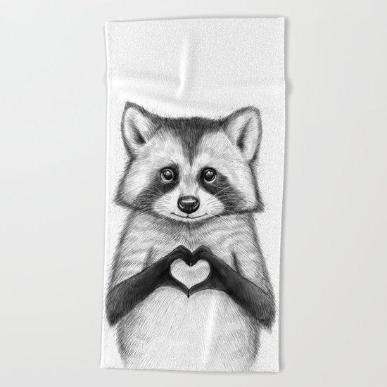 raccoon with heart Beach Towel