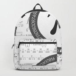 The Pi symbol mathematical constant irrational number, greek letter, and many formulas background Backpack