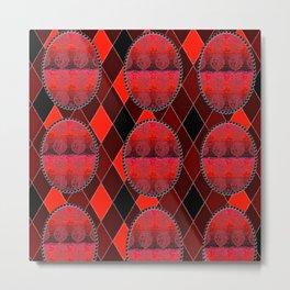 Fleur De Lis Holiday Pattern FDL Red Metal Print
