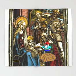 Will the Wandering Gnome Shares a White Hat with Jesus (Gnome Art) (Christmas Art) Throw Blanket