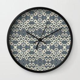 Indigo Marble Circle Shibori Mandala Wall Clock