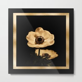 Anemone Flowers, Black with Golden Frame, Floral Nature Photography Metal Print