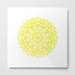 Mandala 12 / 1 eden spirit yellow white Metal Print