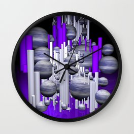 deco violet-white-black -1- Wall Clock