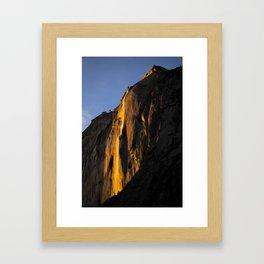 Yosemite Firefall 2016 Portrait  Framed Art Print