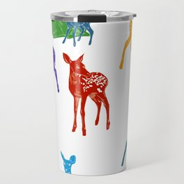 Les biches - Colourful Does pattern illustration Travel Mug