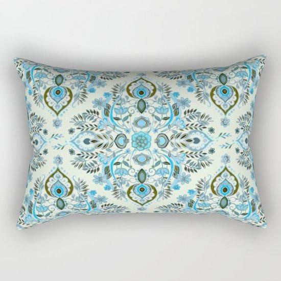 Modern Folk in Aqua and Umber Rectangular Pillow