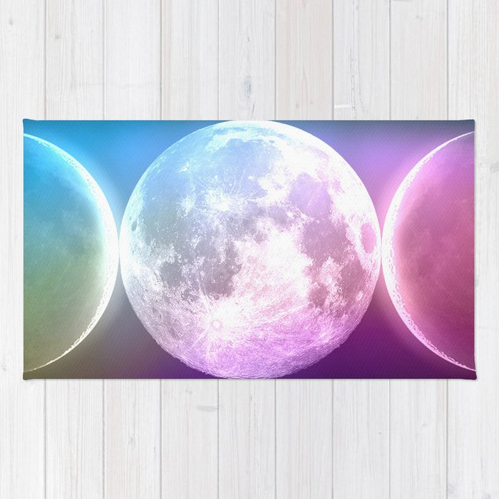 Moon Triple Goddess Rainbow Rug