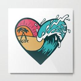 Wave Heart Metal Print