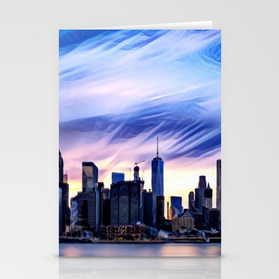 Romantic City Cityscape with Light Sunset and River Stationery Cards