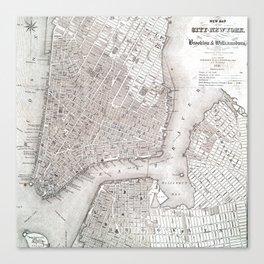Vintage New York City Map Canvas Print