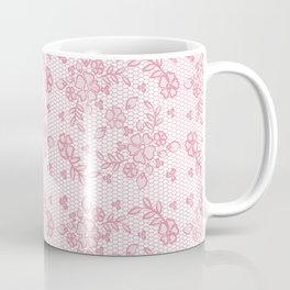 Elegant stylish dusty pink white floral lace Coffee Mug