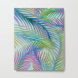 Palm Leaves Pattern - Blue, Purple, Green Metal Print