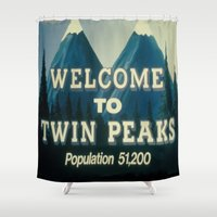 twin peaks Shower Curtains featuring Twin peaks by Catalin Chele