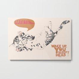 Wake Up Tiger - Beige Metal Print