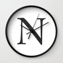 Letter N Initial Monogram Black and White Wall Clock