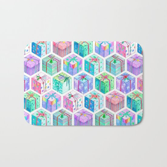 Christmas Gift Hexagons Bath Mat
