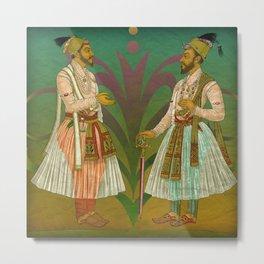2 Mughals on Green Metal Print