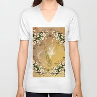 saxophone V-neck T-shirts featuring Saxophone with flowers by nicky2342