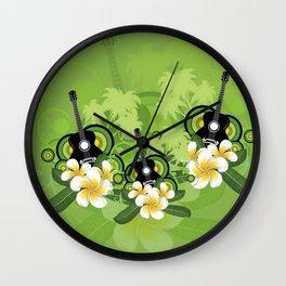Plumeria flowers and black guitar Wall Clock