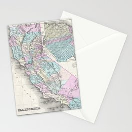 Vintage Map of California (1855) Stationery Cards