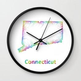 Rainbow Connecticut map Wall Clock