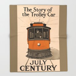 History of the Trolley car 1905 Throw Blanket