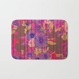 Brown wood magenta purple watercolor floral Bath Mat