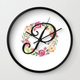 Floral P Monogram Wall Clock
