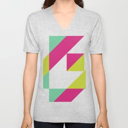 Hot Pink and Neon Chartreuse Color Block Unisex V-Neck