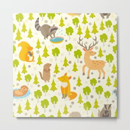 Cute animals seamless pattern. Cute pattern for kids. Metal Print
