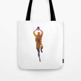 Rugby man player 04 in watercolor Tote Bag