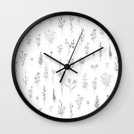 Wildflowers - Grey Flowers Wall Clock