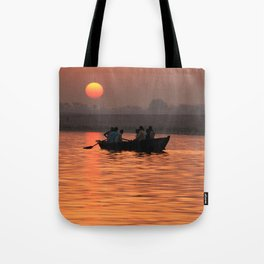 Rowing Boat on the Ganges at Sunrise Tote Bag