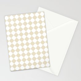 Diamonds - White and Pearl Brown Stationery Cards