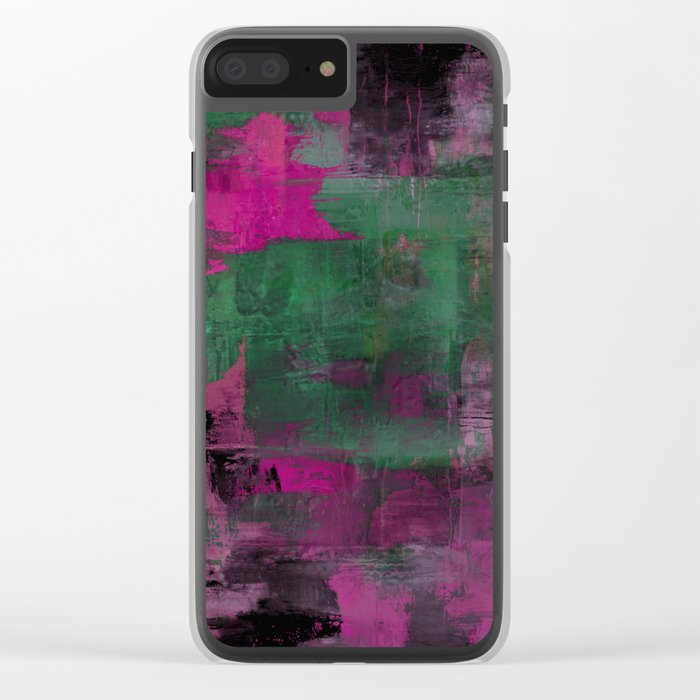 Deep Purple - Abstract, textured painting Clear iPhone Case
