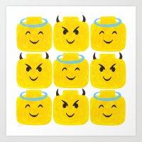 Emoji Minifigure Angel Devil Art Print