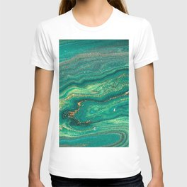 Green Marble Glitter Gold Fluid Painting Pouring Jupiter Surface Glamorous Shiny Metallic Accents T-shirt