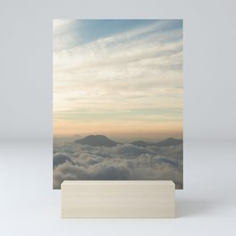 mountain above the clouds at the pacific coast Mini Art Print