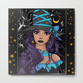 Gothic Witch Girl Metal Print
