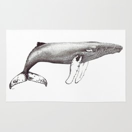 Humpback whale black and white ink ocean decor Rug